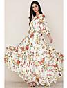Women\'s Chiffon Dress Maxi long Dress White 3/4 Length Sleeve Floral Print Fall Spring Round Neck Elegant Holiday Boho vacation dresses 2021 S M L XL