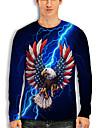 Men\'s Tee T shirt Shirt 3D Print Graphic Lightning Eagle Animal Print Long Sleeve Daily Tops Basic Casual Round Neck Blue