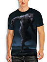 Herre T-shirt 3D-udskrivning 3D Ulv Dyr 3D Trykt mønster Kortærmet Daglig Toppe Afslappet Navyblå