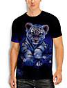 Homens Camiseta Impressao 3D 3D Tigre Animal 3D Estampado Manga Curta Diario Blusas Casual Azul