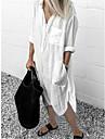 여성용 셔츠 드레스 미디 드레스 푸른 옐로우 그레이 화이트 루비 밝은 블루 긴 소매 한 색상 스플리트 주머니 패치 워크 가을 봄 셔츠 카라 캐쥬얼 루즈핏 2021 S M L XL XXL 3XL 4XL 5XL / 홀리데이 / 작동