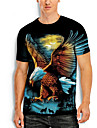 Hombre Camiseta Camisa Impresion 3D Grafico Animal Tallas Grandes Estampado Manga Corta Diario Tops Basico Casual Escote Redondo Azul Piscina Negro Naranja / Verano
