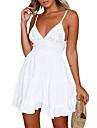 ladies white boho backless v neck lace beach dress sundress mini dress