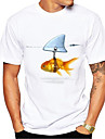 Miesten T-paita Paita 3D-tulostus Kuvitettu Kalat Eläin Painettu Lyhythihainen Päivittäin Topit Vapaa-aika söpö tyyli Pyöreä kaula-aukko Valkoinen / Kesä