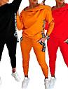 ジッパーデザインレタープリントフード付きトップス& ポケットパンツセット、女性用トラックスーツフード付きスウェットパンツセット(オレンジ、l)