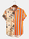 Men's Shirt Other Prints Striped Plants Button-Down Print Short Sleeve Daily Tops Casual Hawaiian Orange / Summer