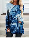 Per donna Abito a T shirt Mini abito corto Blu Manica lunga Colore graduale e sfumato Monocolore Fantasia geometrica Con stampe Autunno Primavera Rotonda 3D Casuale Feste Per eventi Stampa 3D S M L
