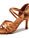 Mulheres Sapatos de Danca Latina Danca de Salao Sapatos de Salsa Line Dance Salto Salto Alto Magro Preto Marron Fivela