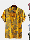 Men\'s Shirt Other Prints Floral Button-Down Short Sleeve Street Tops 100% Cotton Casual Fashion Hawaiian Breathable Yellow Blushing Pink Green / Summer
