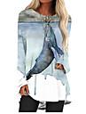 Women\'s T Shirt Dress Tee Dress Short Mini Dress Lake blue Red Green Light Blue Long Sleeve Animal Print Fall Spring Round Neck 3D Print Casual 3D Print S M L XL XXL 3XL