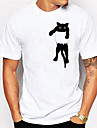 Men\'s T shirt 3D Print Cat Graphic Animal Print Short Sleeve Daily Tops Casual Cute White