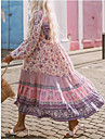 Women\'s Shift Dress Maxi long Dress Blushing Pink Long Sleeve Print Print Spring Summer V Neck Casual Puff Sleeve 2021 S M L XL XXL