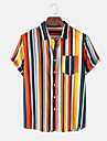 Men\'s Shirt Other Prints Striped Button-Down Print Short Sleeve Daily Tops Casual Hawaiian Orange