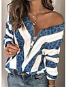 Γυναικεία Πουλόβερ Φερμουάρ Πλεκτό Συνδυασμός Χρωμάτων Λεοπάρ Στυλάτο Καθημερινό Σέξι Μακρυμάνικο Πουλόβερ ζακέτες Λαιμόκοψη V Φθινόπωρο Χειμώνας Θαλασσί Φούξια Καφέ / Αργίες
