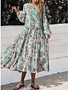 여성용 A 라인 드레스 미디 드레스 화이트 긴 소매 플로럴 프린트 가을 겨울 라운드 넥 우아함 캐쥬얼 랜턴 슬리브 2021 S M L XL