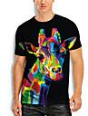 Men\'s T shirt 3D Print Graphic Giraffe Animal Print Short Sleeve Daily Tops Basic Casual Black