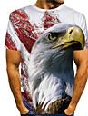 Homens Camiseta Impressao 3D Grafico Aguia Animal Estampado Manga Curta Diario Blusas Basico Casual Branco