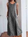 Women\'s A Line Dress Maxi long Dress Blue Gray Black Sleeveless Striped Patchwork Spring Summer V Neck Casual Holiday Going out 2021 S M L XL XXL 3XL 4XL 5XL / Cotton / Cotton