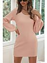 Dámské Svetrové šaty Krátké mini šaty Světlá růžová Dlouhý rukáv Podzim Zima Kulatý Na běžné nošení Sexy Lucerna rukáv 2021 S M L XL