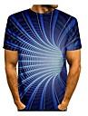 男性用 Tシャツ シャツ 3Dプリント 3D ジオメトリ 3D プリント 半袖 日常 トップの カジュアル ラウンドネック ブルー / 夏