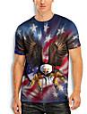 Men\'s T shirt 3D Print Graphic Animal Print Short Sleeve Daily Tops Basic Casual Blue