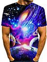 Homens Camisetas Camiseta Camisa Social Impressao 3D Galaxia 3D 3D Estampado Manga Curta Diario Blusas Arte Grafica Basico Casual Designer Decote Redondo Azul Roxo Vermelho / Verao
