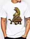 Herren Unisex Tee T-Shirt Hemd Heisspraegen Schildplatt Tier UEbergroesse Bedruckt Kurzarm Taeglich Regular Fit Oberteile 100% Baumwolle Grundlegend Alltag Komfortabel Gross und hoch Rundhalsausschnitt Gruen