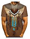 Homens Camiseta Camisa Social Sólido Tribal 3D Patchwork Estampado Manga Curta Diário Blusas Básico Moda de Rua Decote Redondo Cáqui