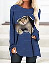 Dames T shirt jurk Mini-jurk Lange mouw Kat Kleurenblok 3D Opdruk Herfst Lente Informeel 2021 Zwart blauw Geel Klaver Grijs S M L XL XXL 3XL