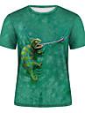Men\'s T shirt Shirt 3D Print 3D Rivet Mesh Short Sleeve Casual Tops Green / Navy / Summer