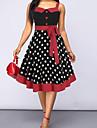 Women\'s Sheath Dress Knee Length Dress Red Sleeveless Polka Dot Patchwork Fall Summer cold shoulder Vintage 2021 S M L XL XXL