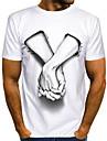 Муж. Универсальные Футболка Рубашка Горячего тиснения Персонажи Большие размеры С принтом С короткими рукавами Повседневные Верхушки Классический На каждый день Круглый вырез Белый / Лето