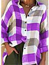 여성용 블라우스 셔츠 무늬 체크무늬 체크 긴 소매 패치 워크 프린트 셔츠 카라 베이직 탑스 푸른 퍼플 루비