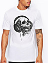 Men\'s Unisex Tees T shirt Hot Stamping Skull Plus Size Print Short Sleeve Daily Tops 100% Cotton Basic Casual Big and Tall Sillver Gray Dark Grey White / Black