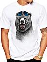 Муж. Универсальные Футболка Рубашка Горячего тиснения Медведи Животное Большие размеры С принтом С короткими рукавами Повседневные Верхушки 100% хлопок Классический На каждый день Круглый вырез Белый