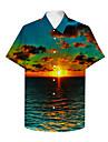 男性用 シャツ 3Dプリント グラフィック 3D 3Dプリント ボタンダウン 半袖 カジュアル トップの カジュアル ハワイアン グリーン / 夏