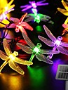 Solar LED Fairy String Lights 6.5m Dragonfly 30LEDs Warm White Colorful White 8 Mode Outdoor Waterproof Wedding Patio Garden House Decoration Lamp