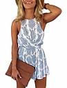 ผู้หญิงเปลือยแขนกุดปิดไหล่ jumpsuit ฤดูร้อนบีชปาร์ตี้ romper jumpsuits& เสื้อคลุมหลวม ๆ สีขาวน้ำเงิน