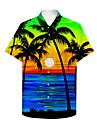 男性用 シャツ 3Dプリント グラフィック 風景画 ボタンダウン プリント 半袖 日常 トップの カジュアル ハワイアン レインボー / 夏