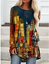 Per donna Abito a T shirt Mini abito corto Giallo Verde Rosso Manica lunga Con stampe Monocolore Con stampe Autunno Primavera Rotonda Casuale Vintage ▾ 2021 S M L XL XXL 3XL
