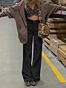 Dámské stylové Chino Pohodlné Kalhoty chinos Jdeme ven Víkend Kalhoty Bez vzoru Plná délka Vysoký pas Světle hnědá Khaki Trávová zelená Černá Hnědá