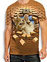 Hombre Tee Camiseta Camisa Impresion 3D Gato Estampados Animal Estampado Manga Corta Diario Tops Basico Casual Caqui