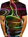 בגדי ריקוד גברים חולצה קצרה הדפסת תלת מימד גראפי 3D מידות גדולות דפוס שרוולים קצרים יומי צמרות מוּגזָם צווארון עגול תלתן קשת כתום / קיץ