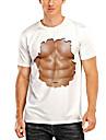 Herre T-shirt 3D-udskrivning Grafisk 3D Muskel Trykt mønster Kortærmet Daglig Toppe Hvid