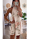 Women\'s Shift Dress Short Mini Dress White Sleeveless Floral Print Summer Halter Neck Casual 2021 S M L XL