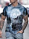 Hombre Camiseta Camisa 3D Animal Tallas Grandes Estampado Manga Corta Diario Tops Chic de Calle Exagerado Escote Redondo Arco Iris