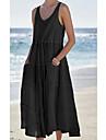 Women\'s A Line Dress Midi Dress Black Brown Sleeveless Solid Color Pocket Patchwork Spring Summer Round Neck Elegant Casual 2021 S M L XL XXL