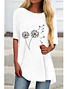 Women\'s T Shirt Dress Tee Dress Short Mini Dress White Half Sleeve Floral Color Block Print Spring Summer Round Neck Casual 2021 S M L XL XXL 3XL