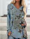 Női Pólóruha Rövid mini ruha Medence Sárga Fekete Rubin Hosszú ujj Nyomtatott Állat Nyomtatott Nyár V-alakú Alkalmi 2021 S M L XL XXL 3XL