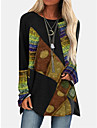 Women\'s Shift Dress Short Mini Dress Blue Purple Red Khaki Green Long Sleeve Print Print Spring Round Neck Vintage 2021 S M L XL XXL 3XL